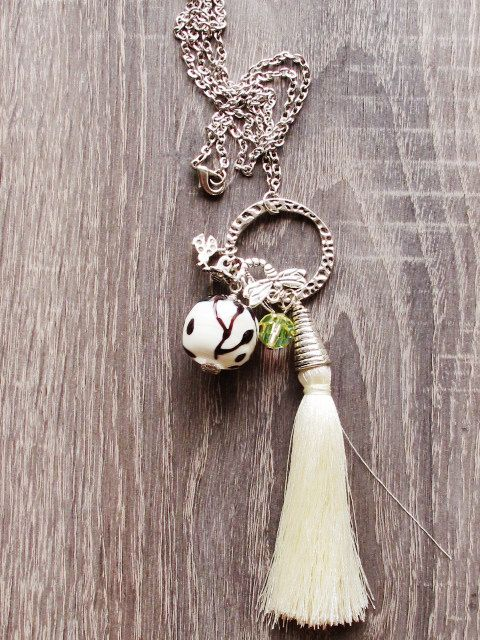 Ivory Lampwork Necklace with Tassel Glass by GlassHouseLampwork