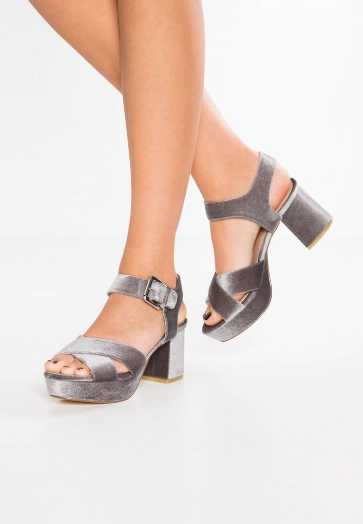 "Office. Platform sandals - grey . Pattern:plain. Sole:synthetics. heel height:3.0 "" (Size 4). Platform height:1.5 "" (Size 4). Padding type:Cold padding. Shoe tip:open. Heel type:block heel,platform toe. Lining:imitation leather. sh..."