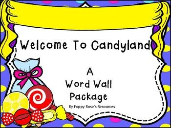 """This is an amazingly cute word wall package in a candy-land theme. The """"Word Wall Banner"""" is created to mimic the sugar shack awning and will highlight your high frequency word wall. The letter header are designed as bunting banners with colorful candy themed backgrounds with a ribbon sash,Contents:Word Wall Awning Banner26 small letter bunting banner cards for small spaces.26 large letter bunting banner pieces"""