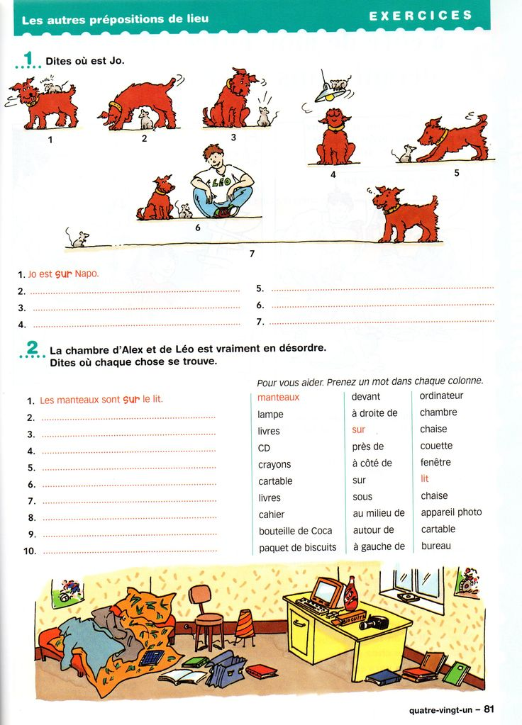 exercices sur les prépositions de lieu