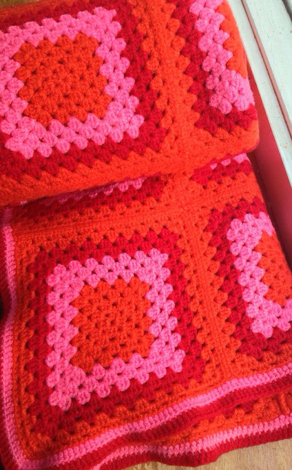 Vintage Afghan Blanket Orange Pink Red by srowe5 on Etsy, $14.00