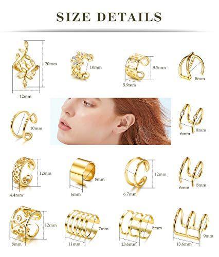 Besteel 14 Paar Ohr Manschette gefälschte Lippen Helix Knorpel Clip auf Wrap Ohrringe nicht Piercing Ohrringe Schmuck-Set   – Products