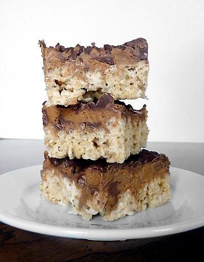 Peanut Butter Cup Rice Krispies Treats | via Brown Eyed Baker