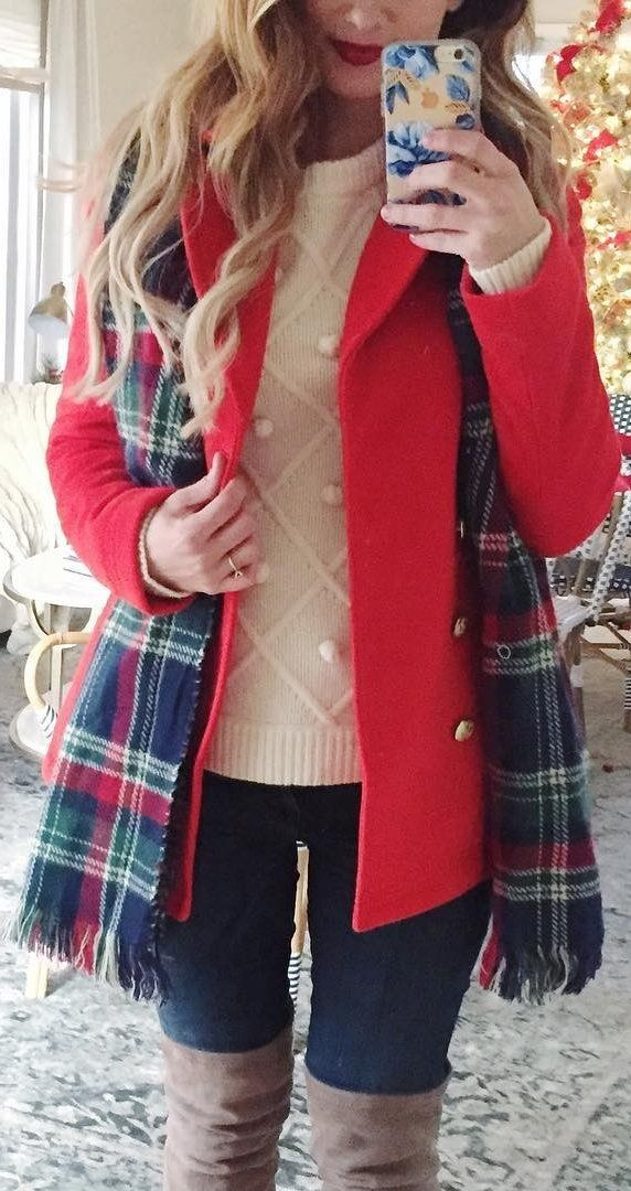 #winter #fashion Red Coat + Light Pink Knit + Navy Skinny Jeans