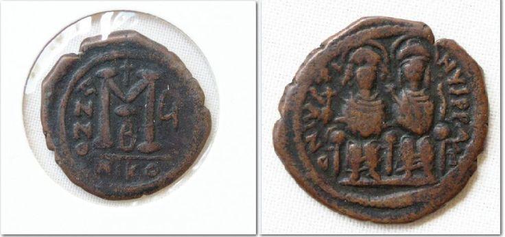 BYZANTINE AUTH ANCIENT COIN ARC 622 Justin II & Sophia AE Follis 569 AD VF