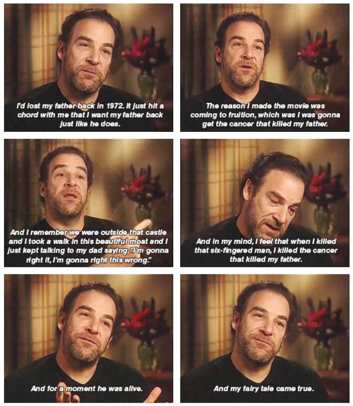 Mandy Patinkin on playing Inigo Montoya in the Princess Bride. (gif) o my. This is so touching and proves that theatre and acting can be therapeutic.