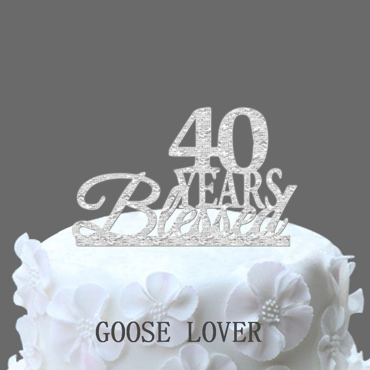 Bling Custom 40 Years Blessed Cake Decor Boutique Bling Number 40 Birthday Cake Topper Anniversary Cake Supply Anniversary Decor