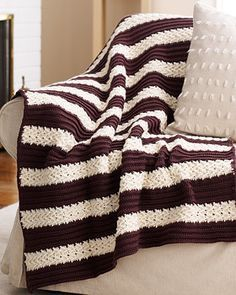 Herringbone Stripe Afghan - Make this Afghan in colors that coordinate with your personal decorating style. The free crochet afghan pattern is easy to follow and pretty.