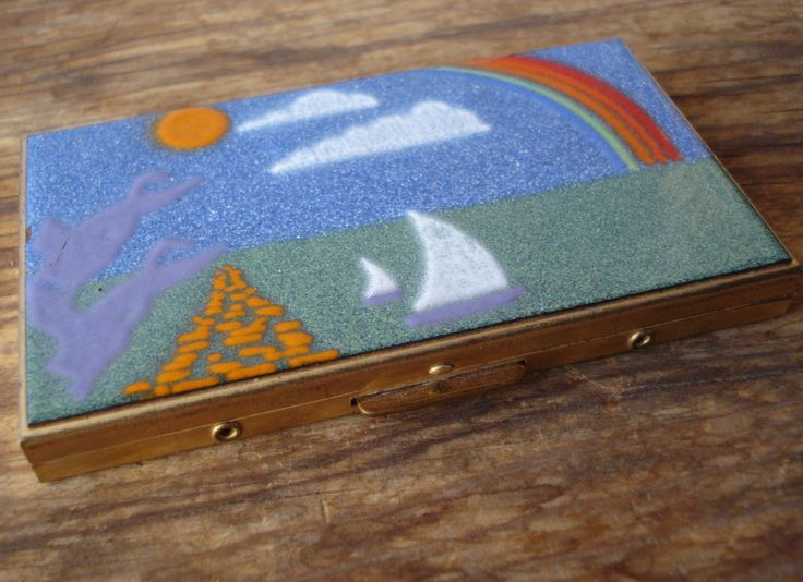 Vintage 1950s Cigarette Case Enamel Brushed Metal Card Holder Compact 2014551 - pinned by pin4etsy.com