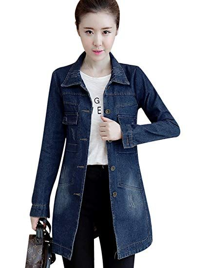 0dc41c53595c9 New Tanming Women s Button Front Mid Long Denim Jean Jacket Coat online    36.97  from top store topbrandsclothing