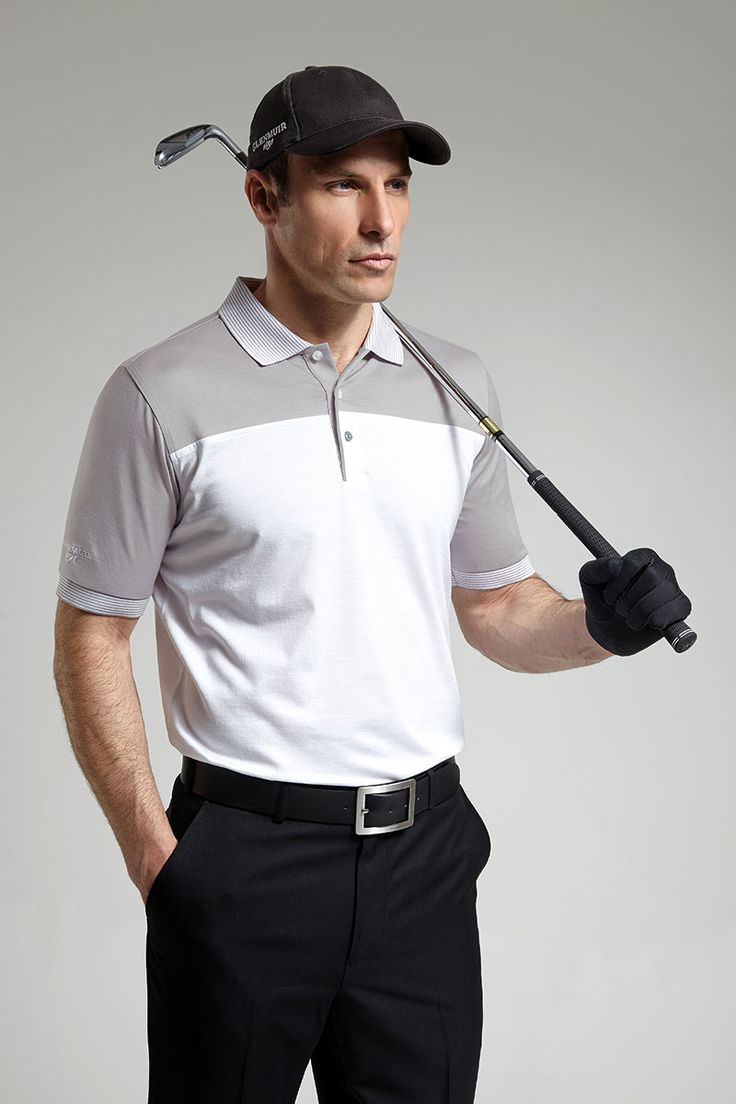 Glenmuir Mens Colour Block Striped Collar Golf Polo Shirt