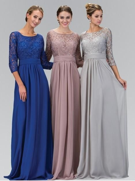 2016 Long A-line Silver Gray Modest Chiffon Lace Bridesmaid Dresses With 3/4 Sleeves Formal Floor Length Wedding Party Dresses
