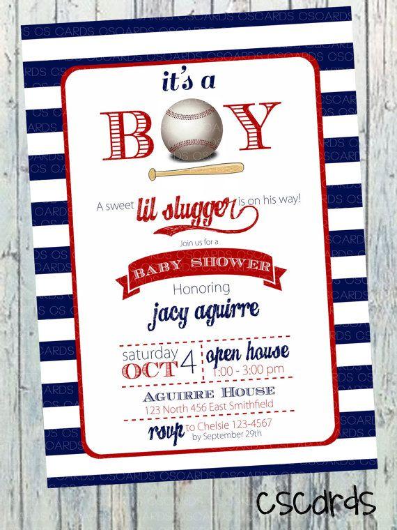 lil slugger baseball boy baby shower invitation by cscardsshop