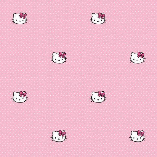 Papier peint Hello Kitty - A pois 25€ #papierpeinthellokitty #papierpeint #rose