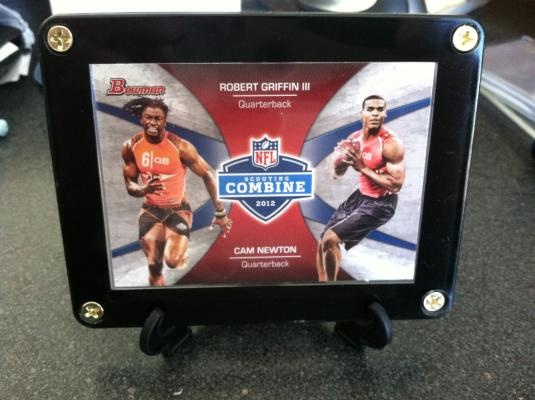 RG III (Robert Griffin III) w/ Cam Newton NFL Scouting Combine RC Card 2012 Bowman w/ Display Stand $7.95