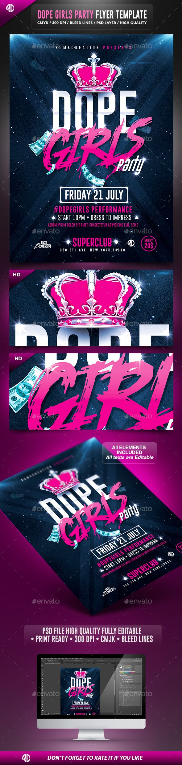 Dope Girls Pink Party Flyer  -  PSD Template • Only available here! ➝ https://graphicriver.net/item/dope-girls-pink-party-psd-flyer-template/13374245?ref=pxcr