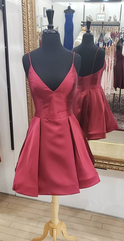c355b3c13 Spaghetti Straps Short Dark Red Hoco Dress from dreamdressy in 2019 ...