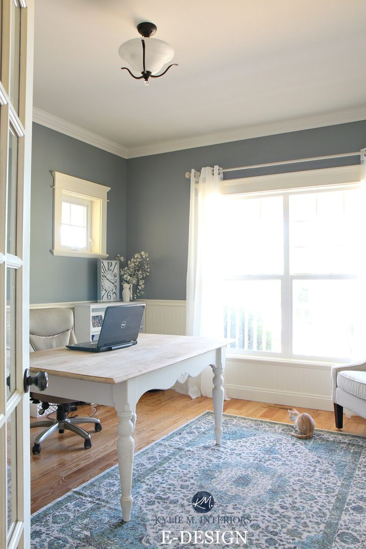 www.kylieminteriors.ca wp-content uploads 2017 08 Benjamin-Moore-Sea-Pine-Stonybrook.-Home-office-with-white-wainscoting-country-style.-Kylie-M-E-design-online-color-consulting-1.jpg