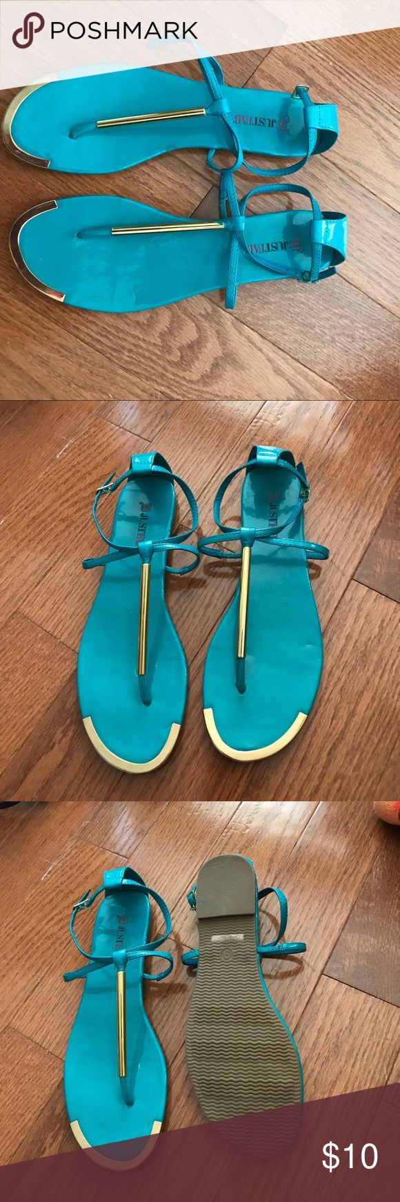 Just fab turquoise sandals Never been worn! Great for the summer. JustFab Shoes Sandals