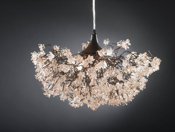 Ceiling lamp - Transparent clear jumping flowers - ceiling light fixture for living room, dinning table.