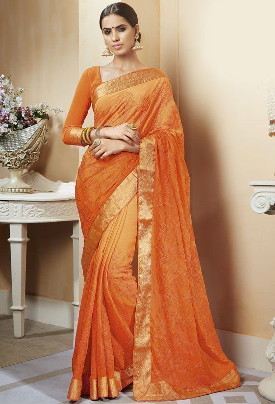 Shaded Orange Chiffon Saree
