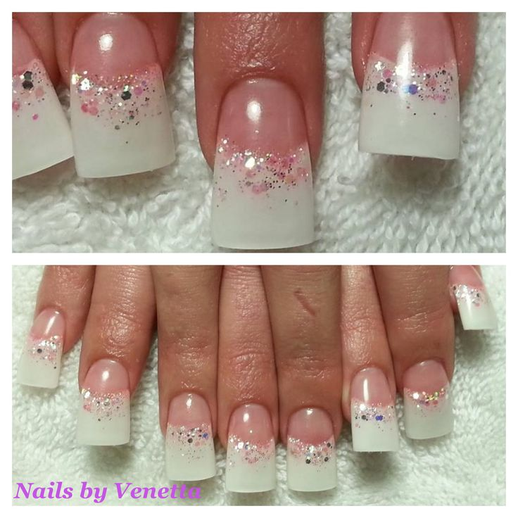White Glitter French Acrylic Nails slightly flared #bridal #pink and white