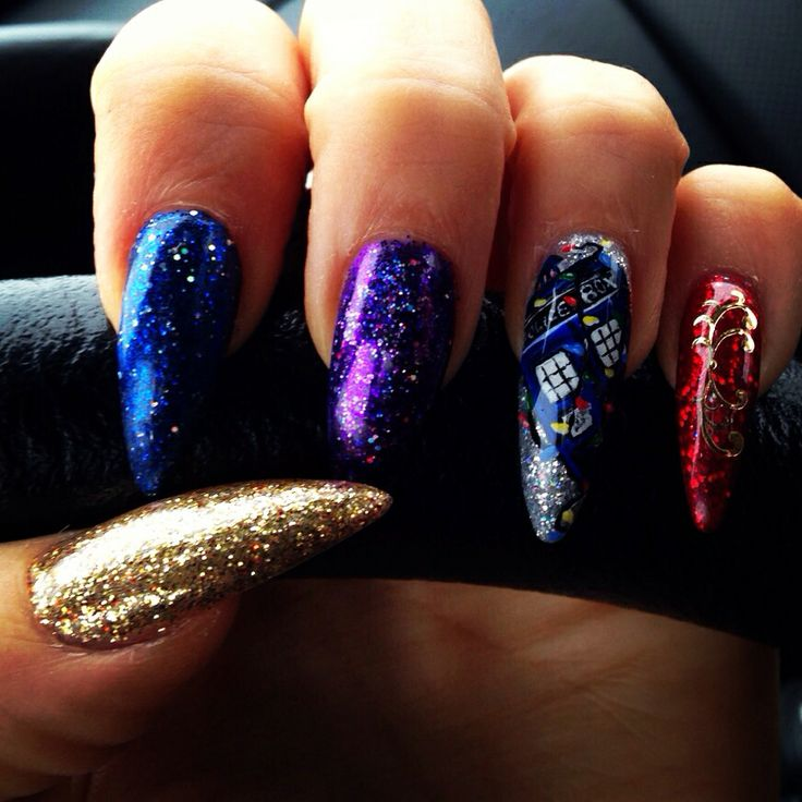 My Christmas 2013 Nails  LCN Gels with loose glitter accents.  With Christmas Tardis, Love Dr.Who!!!!
