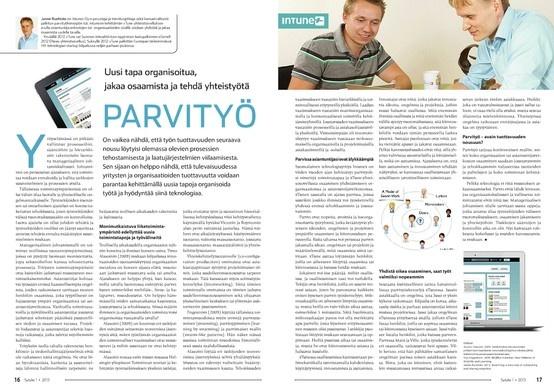 Parvityö - uusi tapa organisoitua, jakaa osaamista ja tehdä yhteistyötä. Sytyke-lehti s. 16-17. http://netpaper.artstudio.fi/sytyke/sytyke_2013_01/