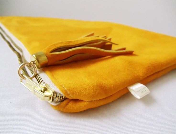 Mustard suede Clutch  http://www.franmaturana.com/p/shop.html#