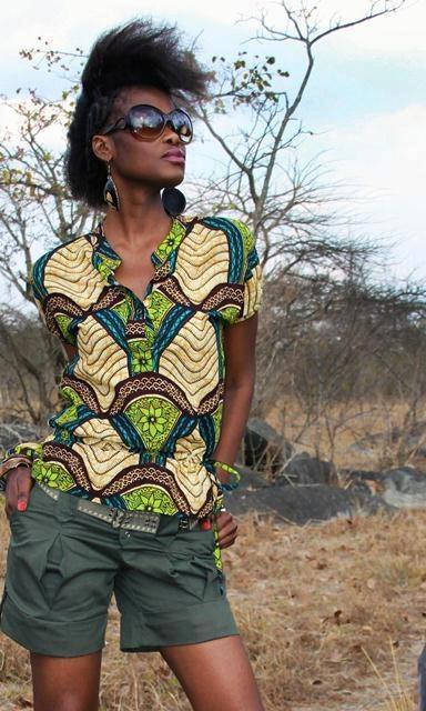 Chemise safari by Kamanga [#pagne #wax #tissuafricain]