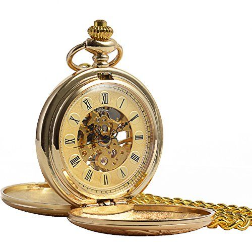 From 28.99 Manchda Vintage Champagne Gold Pocket Watch For Men Women Engraved Double Hunter Skeleton Mechanical Golden Movement Roman Numerals With Chain  Gift Box