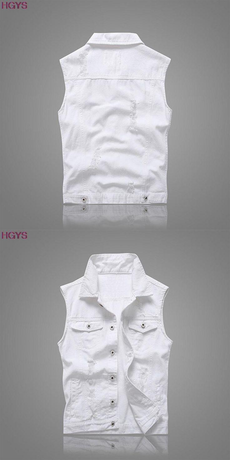 BOU 2017 summer men denim waistcoat Hole cultivate one's morality white denim vest