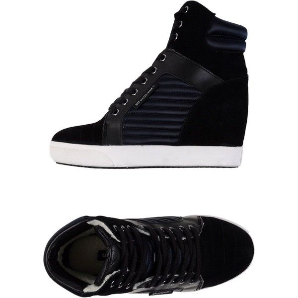 United Nude Sneakers ($185) ❤ liked on Polyvore featuring shoes, sneakers, black, wedges shoes, wedge trainers, black leather sneakers, hidden wedge shoes and leather sneakers
