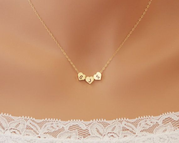 THREE Hearts initial necklace  reversible 14K Gold by PTInspires, $33.00