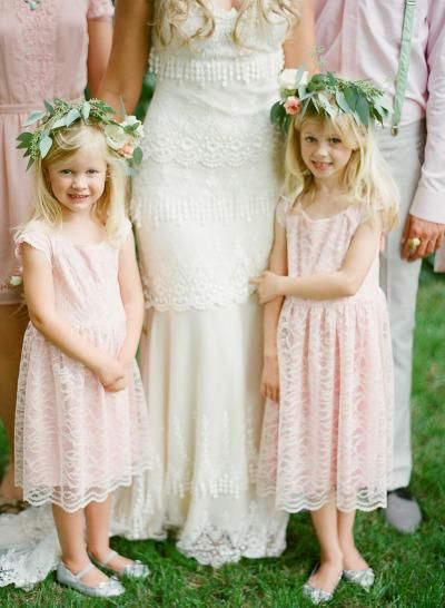 pale pink flower girl dresses match the bridesmaids
