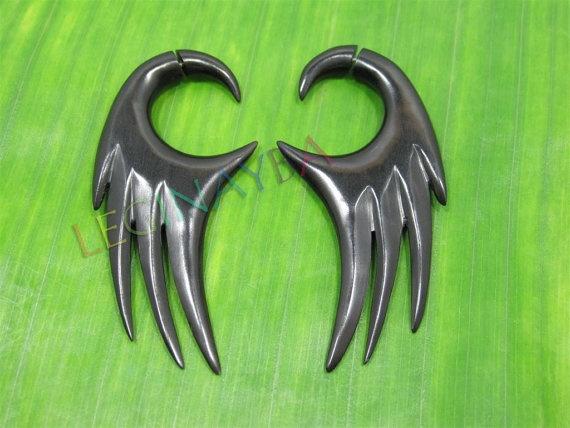 angel wing wooden fake gauges by Leginayba on Etsy, $6.99 #angelwing #wood #ecojewelry #handcarving #handmade #bali