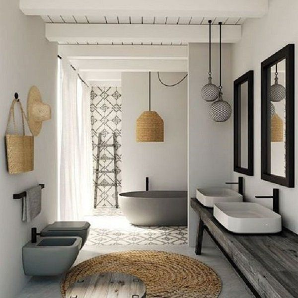 The mat in the bathroom made of woven wood, bamboo or rattan, is very beautiful decoration and also useful because it will protect you from the cold tiles.