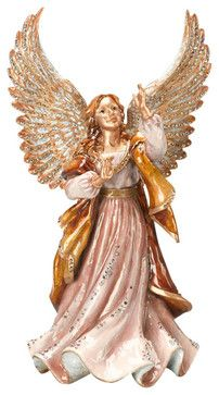 Jay Strongwater Rejoicing Angel Figurine - transitional - Decorative Objects And Figurines - Biggs Ltd.