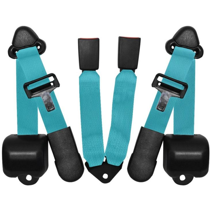 Rear Seat Belt 3 Point Retractable Pair Turquoise - Seat Belts - Interior Parts & Accessories - Interior