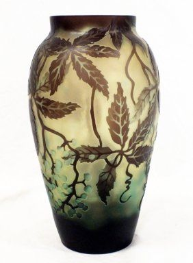 Etched glass Galle style vase