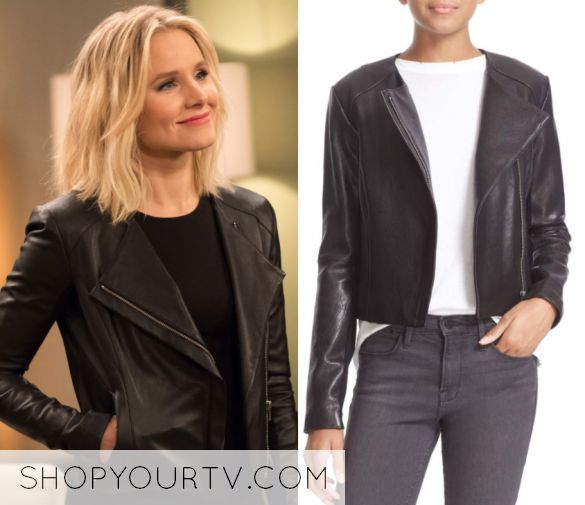 """The Good Place: Season 2 Episode 1 Eleanor Shellstrop (Kristen Bell) wears this black collarless leather jacket in this episode of The Good Place, """"Everything is Great!"""". They are the Veda 'Dali' Lambskin Leather Jacket"""