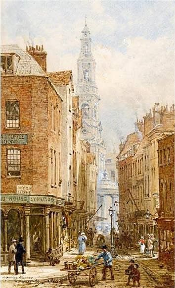 Drury Court, London, viewed from Drury Lane and showing its junction with Wych Street. On the left corner is Symonds, whose trade isn't clear, but the higher sign offers tea and coffee rooms. Partway down a quieter Drury Court than seen above right, sunshine slashes across the street. Almost beside it a street light stands in the middle of the road. A painting by another artist explains it more clearly: the rest of the Court is pedestrian only - the lamp marks where carts have to bear right