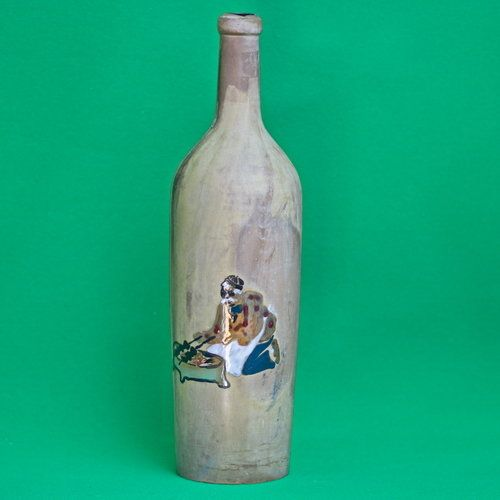 Unique Folk Art Hand Decorated Large Wine Bottle