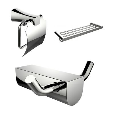 American Imaginations AI-13645 Multi-Rod Towel Rack with Robe Hook and Toilet Paper Holder Accessory Set