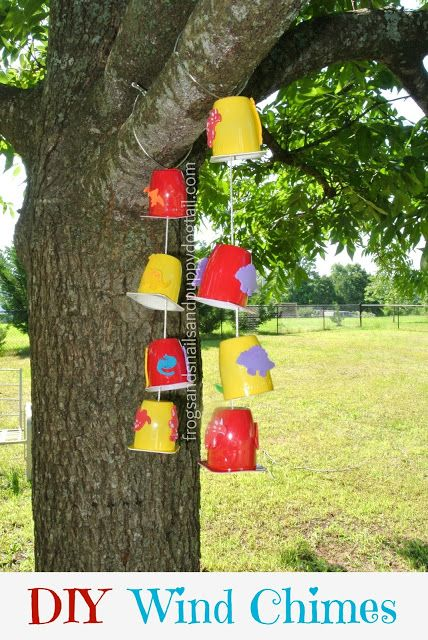 Wind Chimes - these are made with yogurt cups, but I think you could also use small tin cans. Small jingle bells are inside each cup......love this idea!