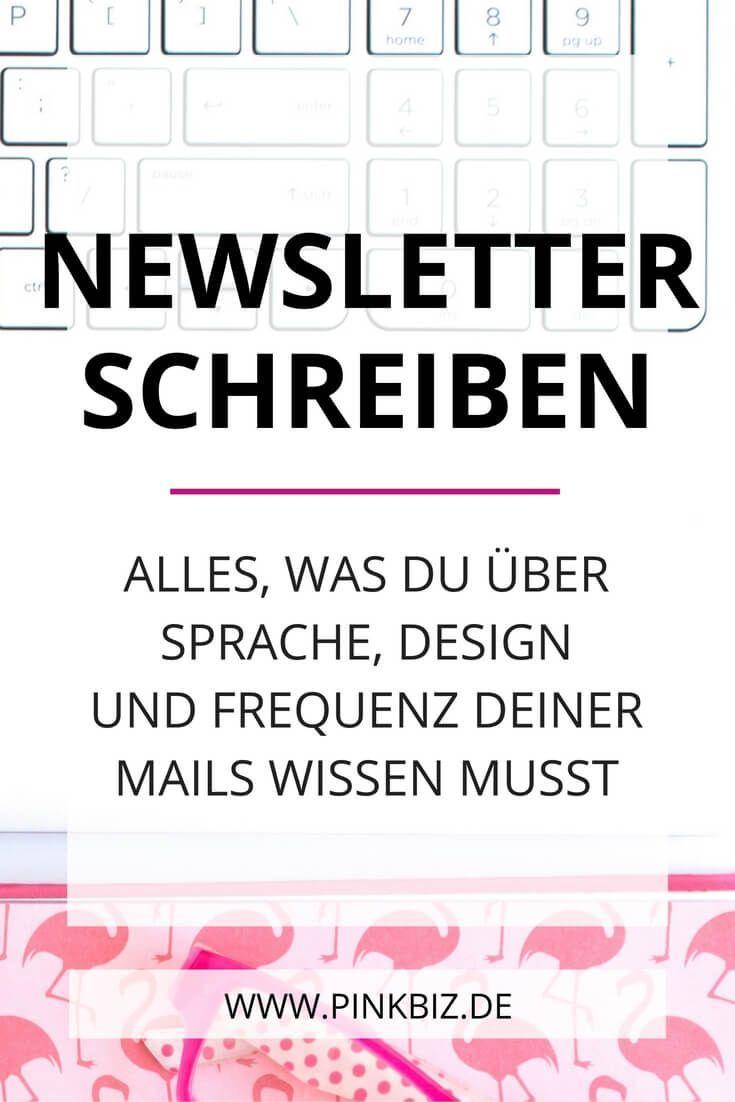 Newsletter schreiben – Sprache, Design, FrequenzAlexandra Polunin   Pinterest Marketing Tipps für Selbstständige + Unternehmen