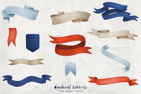 Nautical Watercolor Ribbons Cliparts by The Paper Town on @creativemarket