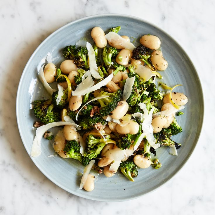 White Beans & Charred Broccoli with Parmesan   Gigante beans have a nutty, buttery flavor and creamy texture, and hold together when cooked.