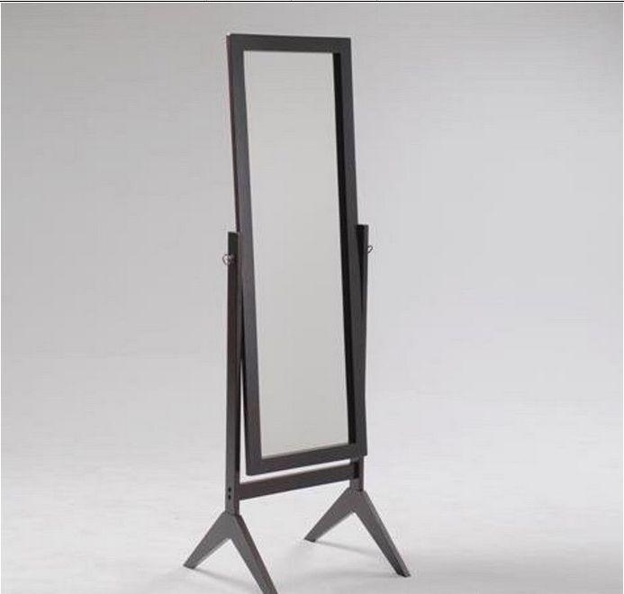 Brown Floor Length Cheval Mirror Free Standing Swivel Dressing Room Bedroom New Crownmark