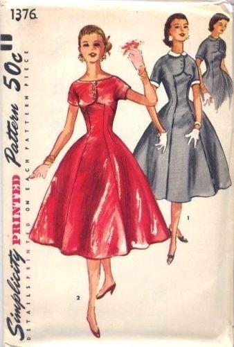 Винтажный 1950-х годов-шитье-выкройка-один кусок-Принцесса-платье-рокабилли-Бюст-32-г